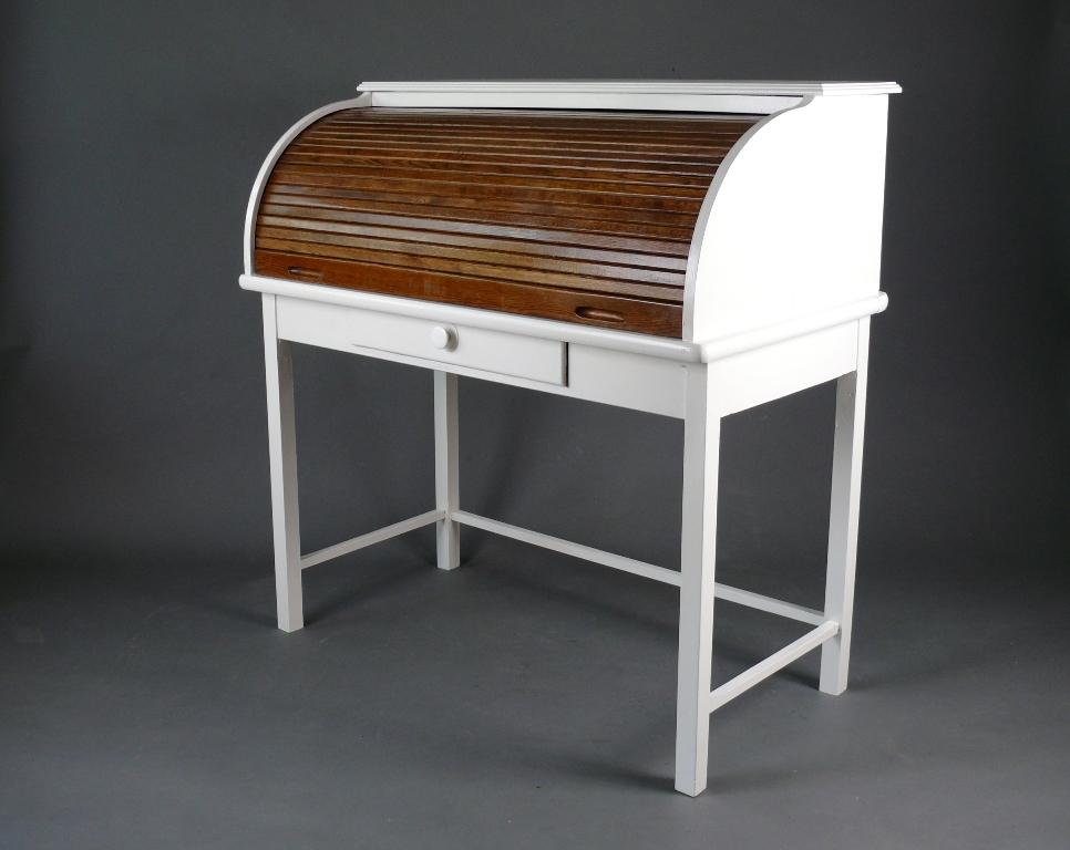 upcyling vintage mid century rolladen sekret r schreibtisch shabby chic ebay. Black Bedroom Furniture Sets. Home Design Ideas